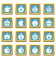apple logo icons set sapphirine square vector image vector image