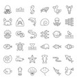 aquatic ocean life outline icon set vector image