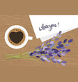 bouquet and a cup coffee lavender flowers vector image