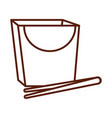 box with chopsticks package line style icon vector image