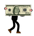 businessman carries big dollar huge profits big vector image vector image
