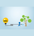 businessman watering money tree with idea tank vector image vector image