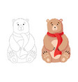 christmas bear flat isolated vector image vector image
