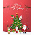 christmas party with santa claus and friend vector image