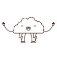 cloud with lightnings kawaii caricature in brown vector image