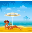Colorful beach background with beautiful tan girl vector image vector image