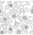 Coloring antistress flowers pattern vector image vector image
