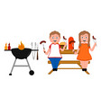 couple enjoying a barbecue picnic vector image