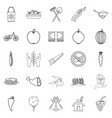 Cultivator icons set outline style vector image