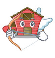 cupid character red barn building with haystack vector image