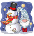 cute cartoon gnome and snowman vector image