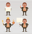 cute successful businessman cheerful king crown on vector image vector image