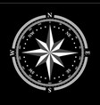 dial compas and rose of wind on black background vector image