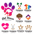 dog and pet theme logo set vector image