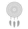 dream catcher silhouette with feathers vector image