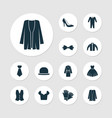 dress icons set with fashionable blouse bow tie vector image