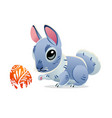 easter bunny with the egg cartoon vector image vector image