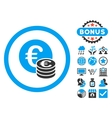 Euro Coin Stack Flat Icon with Bonus vector image vector image