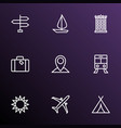 exploration icons line style set with sail boat vector image