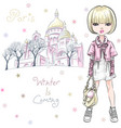 fashion girl in winter clothes in paris vector image vector image
