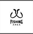 fishing hook logo simple vector image vector image