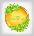 golden coin with shamrocks St Patrick Day symbol vector image vector image
