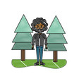 grated man curly hair and pine trees vector image vector image