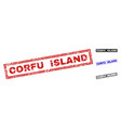 grunge corfu island scratched rectangle watermarks vector image vector image