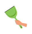 hand holding green plastic scoop human hand with vector image