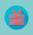 icon of gift box with long shadow vector image vector image