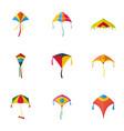 kid kite icon set flat style vector image