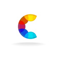 Letter C colorful overlay rainbow colors logo vector image vector image