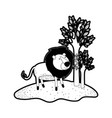 lion cartoon in forest next to the trees in black vector image vector image