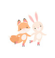 lovely white little bunny and fox cub holding vector image vector image