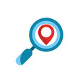 magnifying glass pointer gps map and navigation vector image vector image