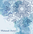 Mandala watercolor blue background vector image