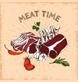 meat time hand drawn design vector image vector image