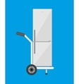Metallic hand truck with freezer vector image vector image