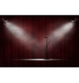 microphone standing on stage in spotlight red vector image vector image