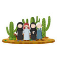 muslim people in desert land vector image vector image