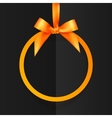 Orange round frame with silky bow and ribbon at vector image vector image
