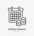 payment schedule with money flat line icon vector image vector image