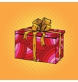 Red festive box tied with a gold ribbon vector image vector image
