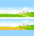 rural fields banners vector image vector image