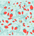 seamless pattern ripe strawberries vector image vector image