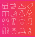 set 16 retail fashion clothing thin line icons vector image