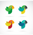 set parrot design on white background wild vector image vector image