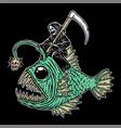 skull grim riding ghost fish vector image