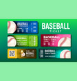 stylish design baseball game tickets set vector image vector image