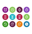 Time and Clock circle icons on white background vector image vector image